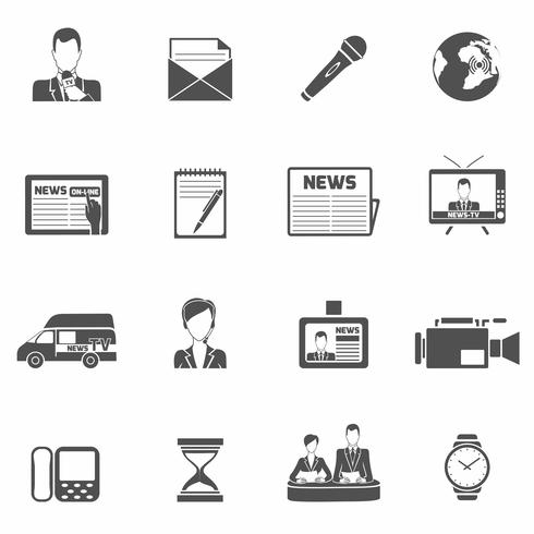 Nachrichtensymbole schwarz vektor