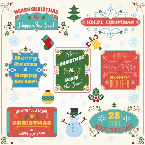 Christmas labels colored set vector
