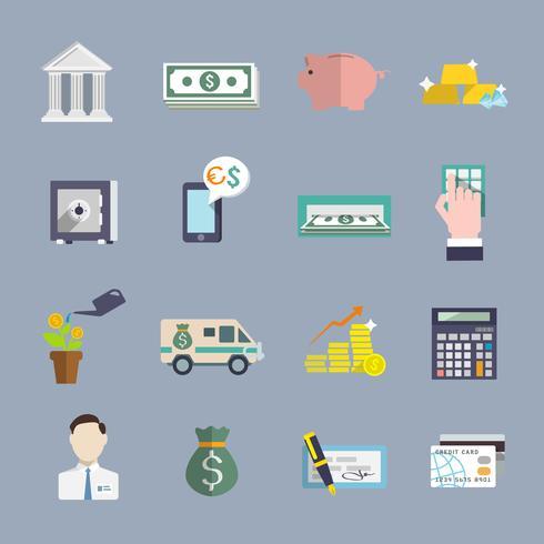 Banktjänst ikoner platt set vektor
