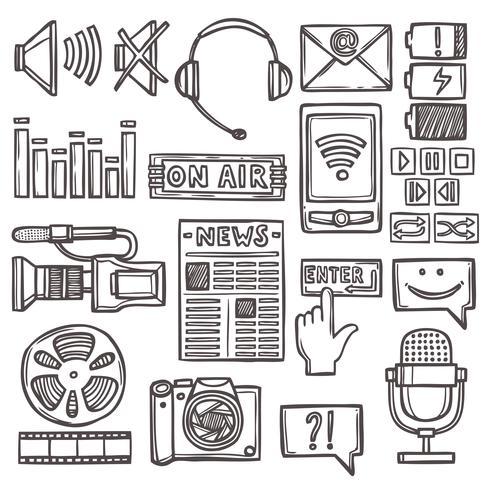 Media sketch icons set