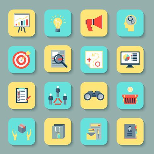 Marketers flat icons set