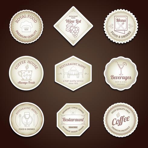 Conjunto de etiquetas de restaurante