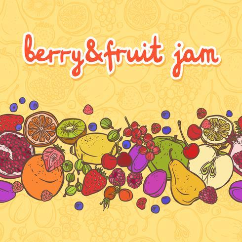 Frukt och bär gränsar horisontellt vektor