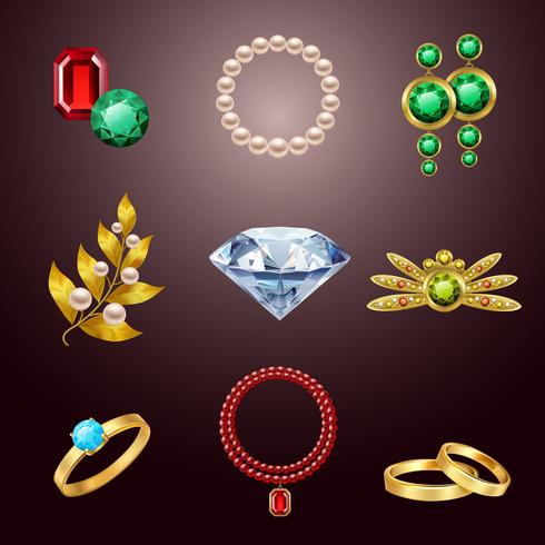 Iconos realistas de joyas vector