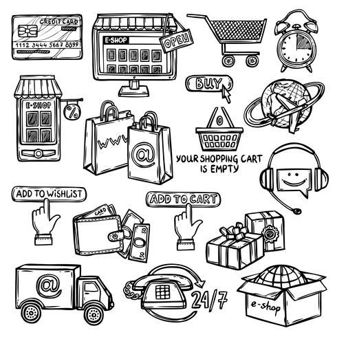 Jeu d'icônes de commerce électronique esquisse