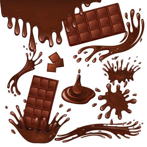 Tablette de chocolat au lait et éclaboussures