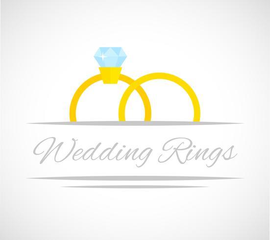 Carte anneaux de mariage vecteur