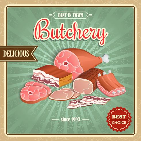 Retro meat poster vector