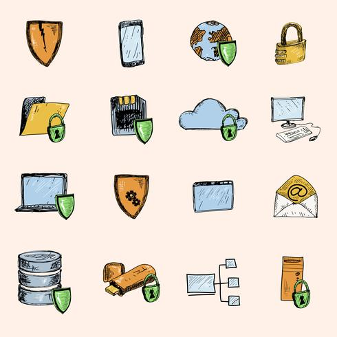 Data protection sketch icons colored