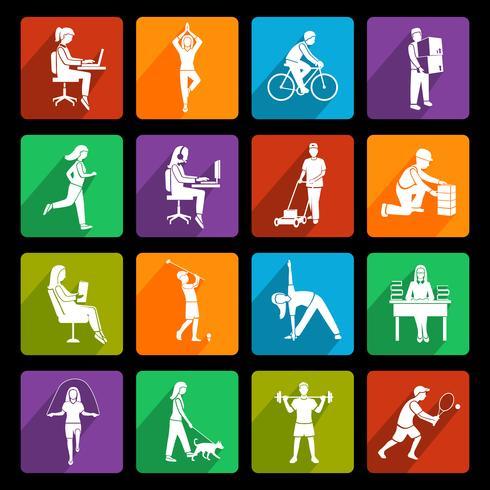 Symbole für körperliche Aktivität flach