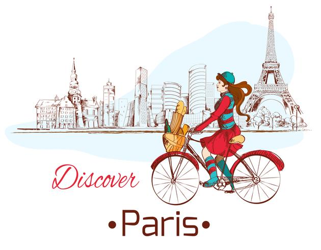 Upptäck Paris affisch vektor