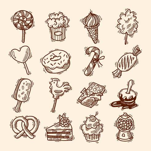Insieme dell'icona di schizzo di dolci