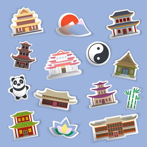 Chinese huisstickers vector