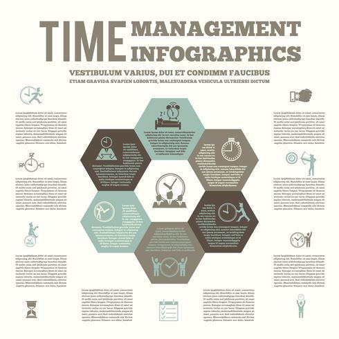 Póster infográfico de gestión del tiempo. vector