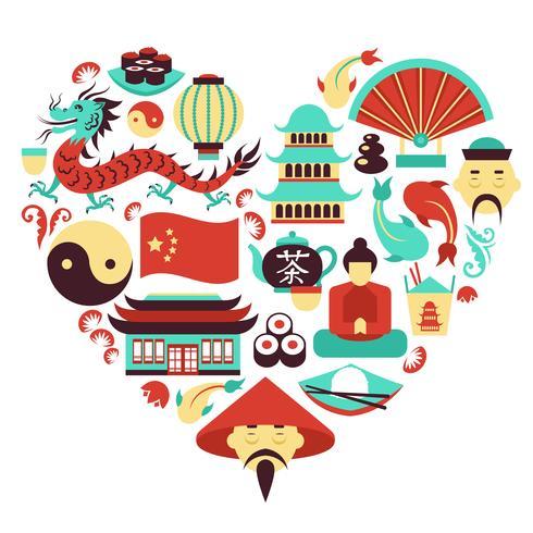 Coração de símbolos da China vetor