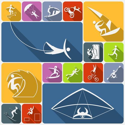 Extrema sport ikoner platt vektor
