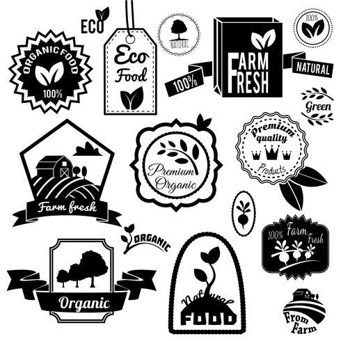 Eco etiquetas negras vector