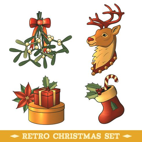 Conjunto de colores de iconos de Navidad