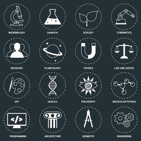 Wissenschaftsbereichsikonen weiß