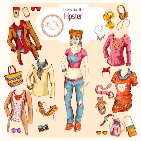 Conjunto de roupa de menina hipster vetor