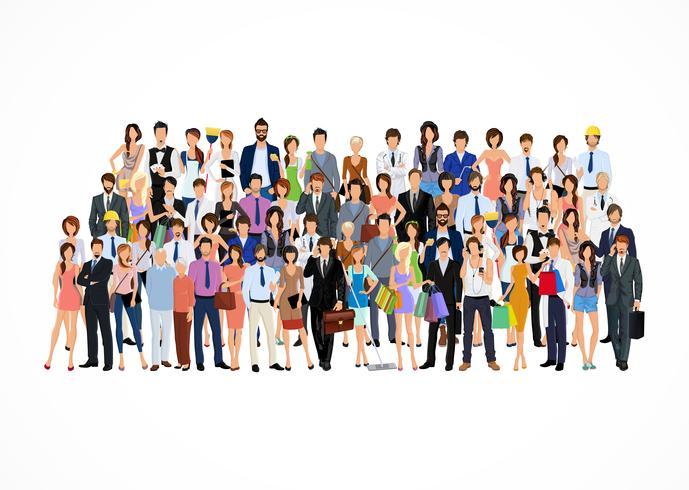 Stor grupp människor