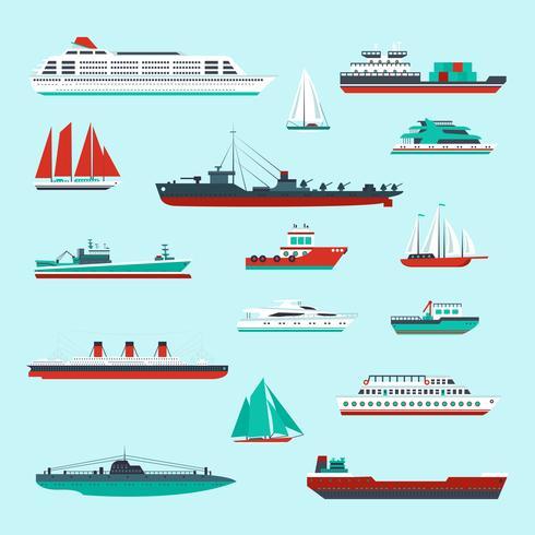 Set de barcos y embarcaciones. vector