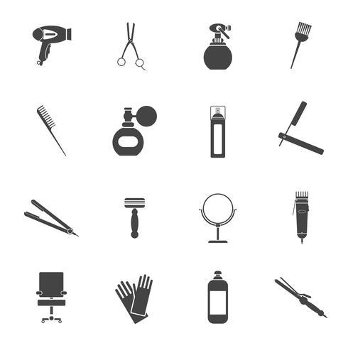 Conjunto de iconos de peluquería negro