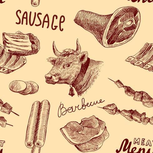 Croquis de viande sans soudure vecteur