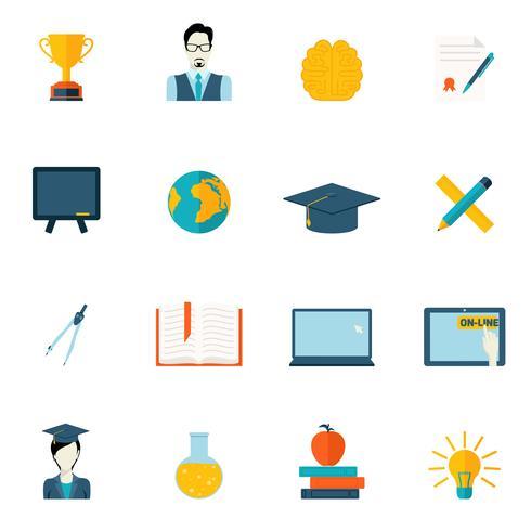 Education icons flat