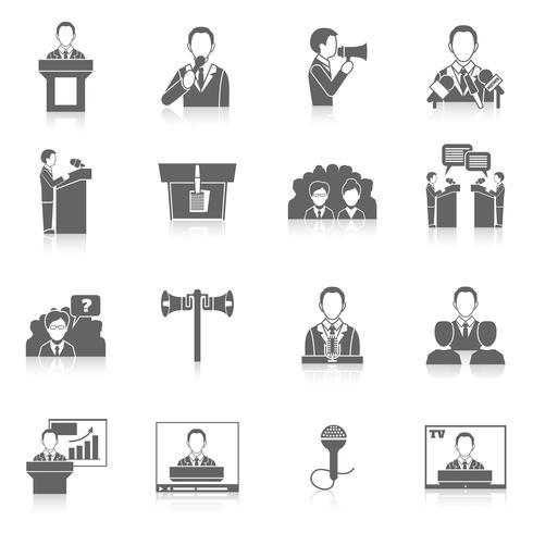 Iconos de hablar en público vector