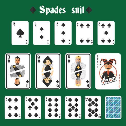 Spielkarten Pik gesetzt