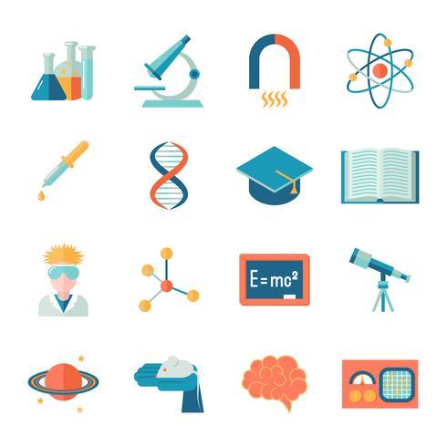 Science et recherche icône plate vecteur