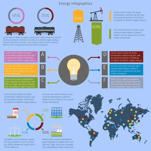 Conjunto de infografías de energía. vector