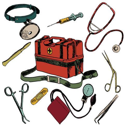 Conjunto de colores de iconos de dibujo de medicina vector