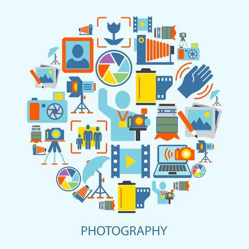 Icônes de la photographie à plat vecteur