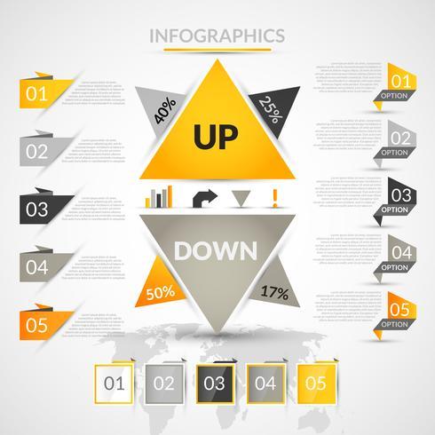 Elementi di infographic di origami vettore