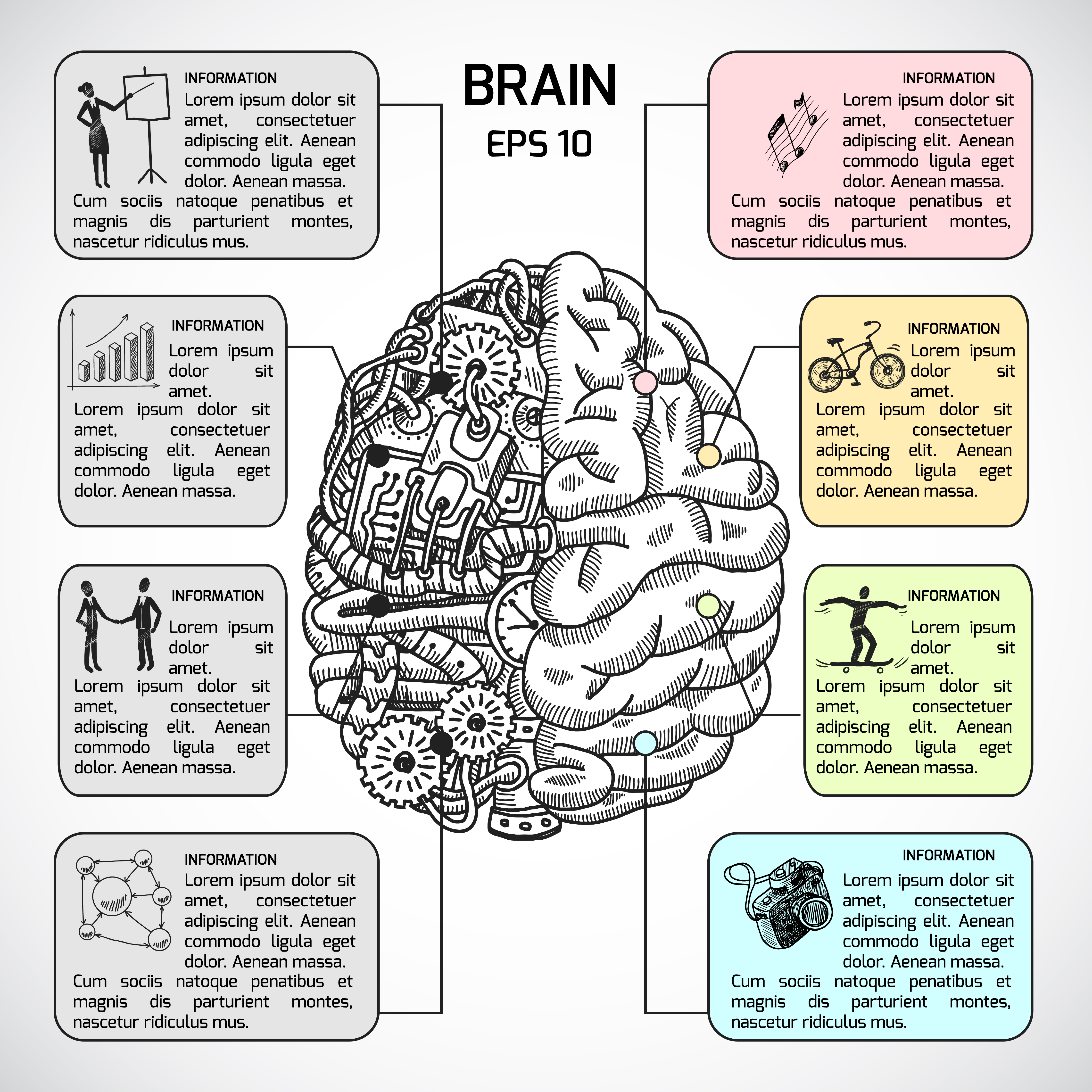 Brain hemispheres sketch infographic 439295 - Download ...