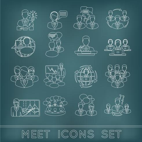 Meeting outline icons set