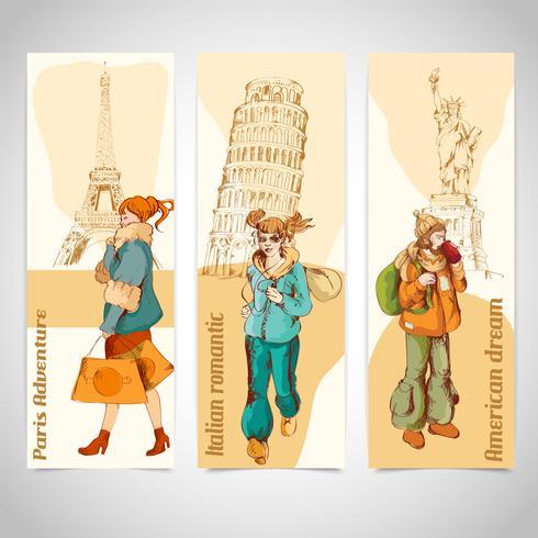 Banners verticales urbanos de personas coloreadas.