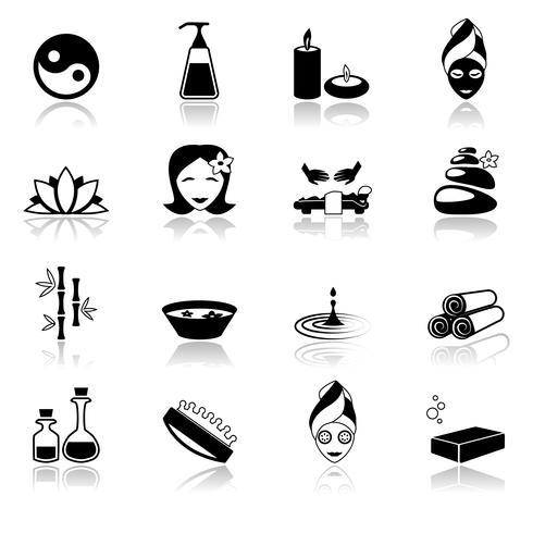Iconos de spa negros vector