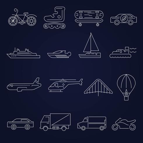 Transport pictogrammen schetsen set