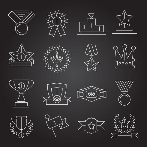 Award icons set outline