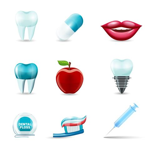 Iconos dentales realistas vector