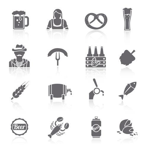 Beer icons set black