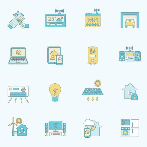 Linea piatta di icone casa intelligente vettore