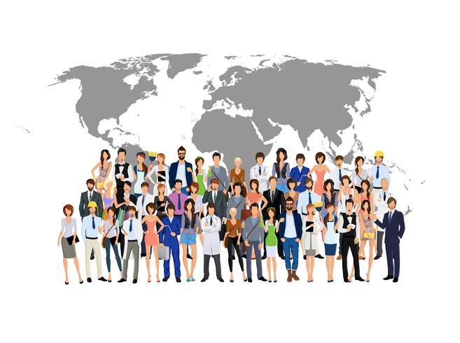 Mappa del mondo di persone di gruppo
