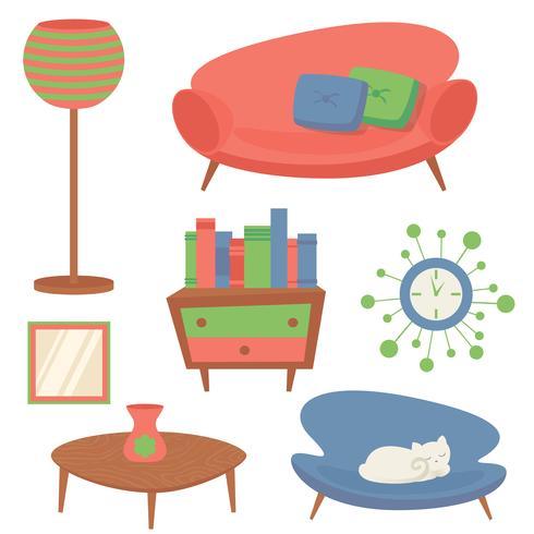 Interior design elements vector