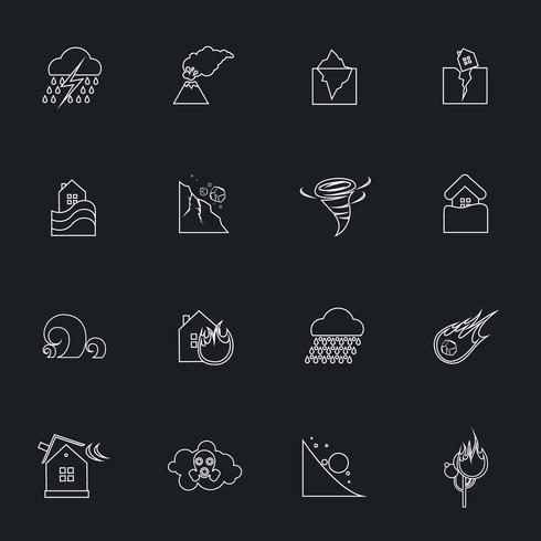 Set di icone di disastro naturale vettore