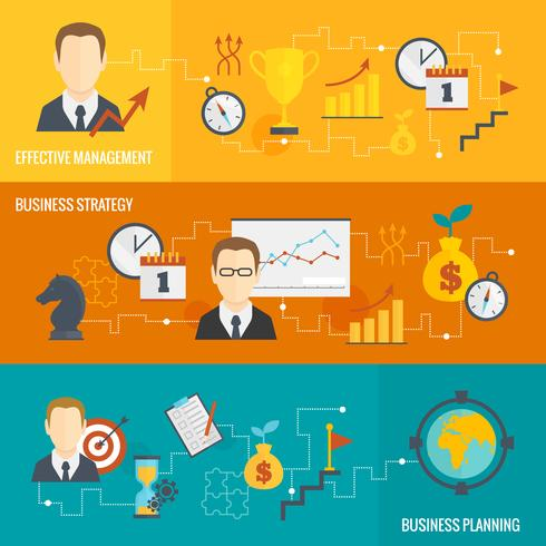 Business strategy planning banner set
