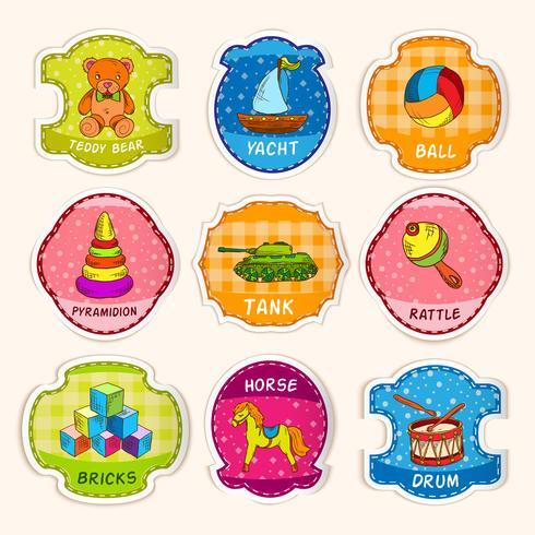 Toys labels sketch vector